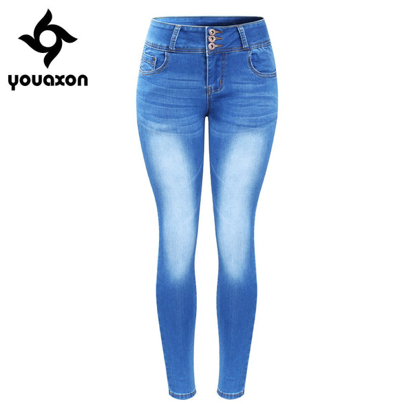 2143 New Arrived Plus Size Faded Jeans For Women Stretchy Five Pockets Denim Skinny Pants Trousers