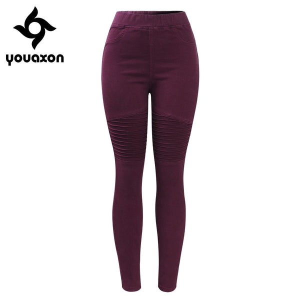 2148 Motor Biker High Waist Pleated Jeans Woman Burgundy Stretchy Denim Skinny Pencil Pants Trousers For Women