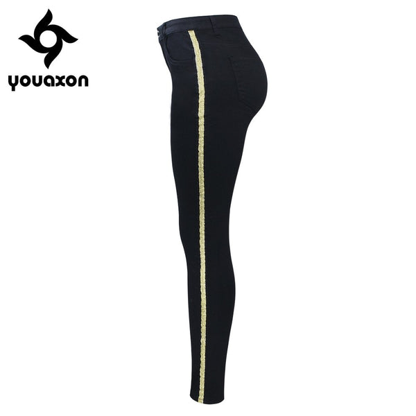 2151 New Arrived Black Jeans With Golden Side Stripe Woman Stretchy Denim Skinny Pencil Pants Trousers For Women