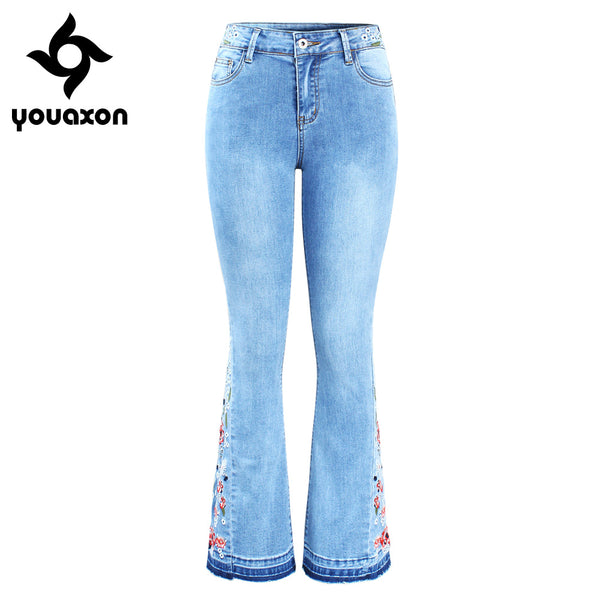 2152 New Arrived Embroidery Flare Jeans Woman Ultra Stretchy Skinny Denim Pants Trousers For Women