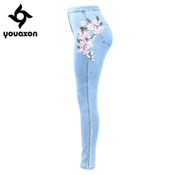 2157 New Arrived High Waist Embroidery Jeans Woman Big Size Stretchy Flower Denim Skinny Pencil Pants Trousers For Women