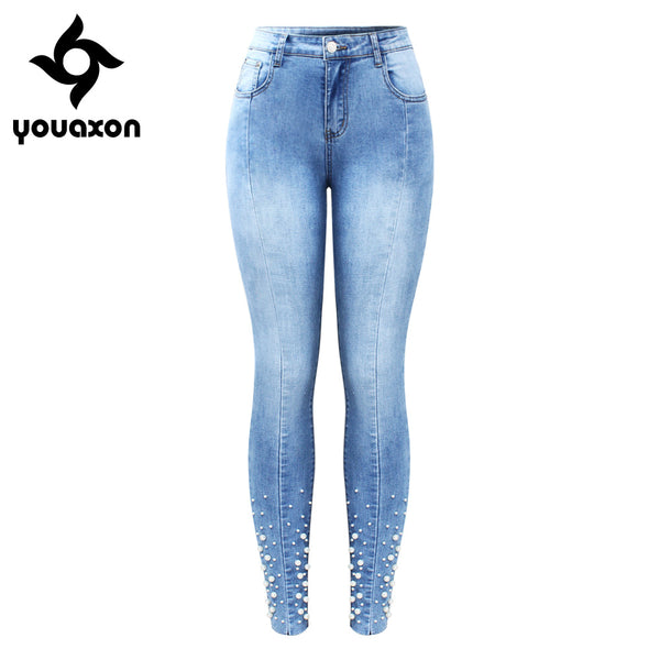 2160 New Pearl Studded Jeans Women`s Mid High Waist Stretch Patchwork Denim Skinny Pants OL Jeans For Women