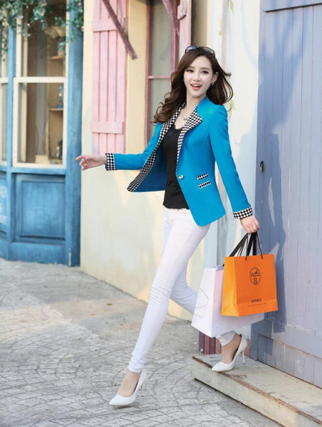 4 Colors New Autumn Spring Elegant Women Blazers Coat Plaid Patchwork Fashion Slim Ladies Short Suits Jackets S11-1