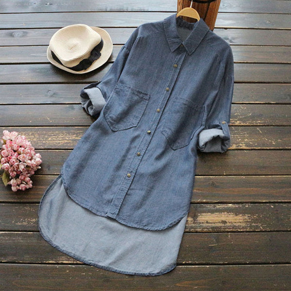4XL 5XL Big Size Denim Shirt Women Irregular Hem Length Pockets Buttons Long Sleeve Women's Tops Autumn Stone Wash Jean Blouse