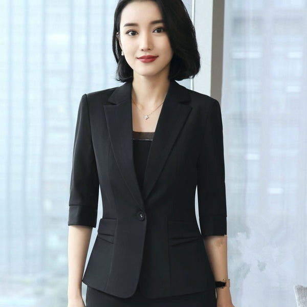 4XL Single Button Black Blazer Feminino Casual Slim Coat Fashion Short Brief Blazer Femme  Comfortable Jacket Jaqueta Feminina