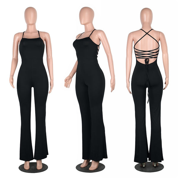 5 Colors Women Casual Jumpsuit Solid Sexy Backless Bandage Long Rompers Ladies One Piece Outfits Flare Pants Plus Size 2XL