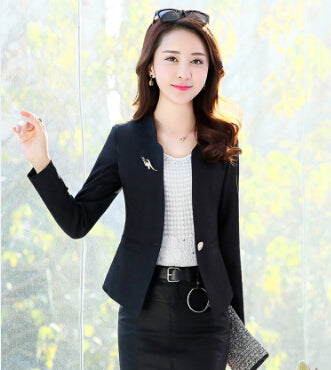 Spring Autumn New Fashion Women Blazer Casual One Button Small Suit Jacket Ladies Short Coats Tops Trend