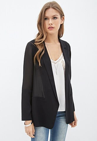 A Forever Spring Black Blazer Women Long Sleeve Notched Black Slim Chiffon Blazer Jacket Fashion Women Casual Suit Jacket AFF369
