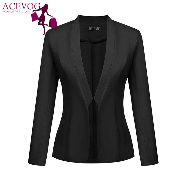 Women's Blazer Jacket Autumn Stand Collar Classic Long Sleeve Open Front Slim Fit  Solid Suit Tops Outwear Lady Clothes