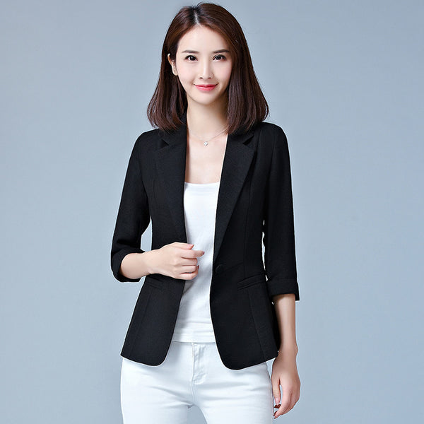 Women summer Three Quarter sleeve Solid color Slim Single Button Thin section Casual Blazers jacket