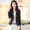 Women Blue Red Plaid Blazer  Style Slim Blazers And Jackets One Button Suit Girl Office Jacket Elegant YR087