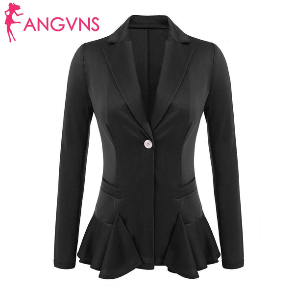 Women's Lapel Blazer Autumn Notch Ruffles Hem Elegant Office Lady Slim Blazer Solid One Button Fit Feminino Black Blazer