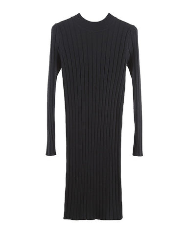 Winter Women Bodycon Knitted Dress O-Neck Long Sleeve Stretchy Sweater Dress Elegant Slim Warm Basic Pullover Knitwear