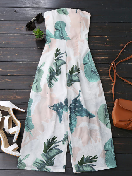 Strapless Leaves Print Wide Leg Jumpsuit 2020 Beach Capri Long Women Rompers Summer Overalls New Girls Boho Jumpsuits