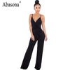 Backless romper women jumpsuit high Waist sexy spaghetti strap jumpsuit v neck solid summer rompers casual overalls