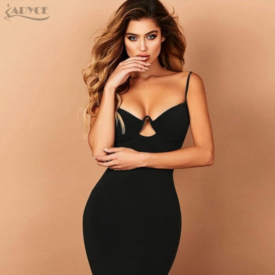 7942013d86489 2018 New Summer Women Bandage Dress Red Black Sexy V Neck Sleeveless Hollow  Out Luxury Club Celebrity Party Dress Vestidos