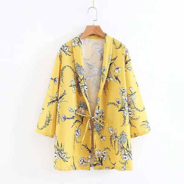 New Women Office Casual Blazer Vintage Floral Print Notched Sashes Long Sleeve Outwear Coat Lace-up Ladies Blazers