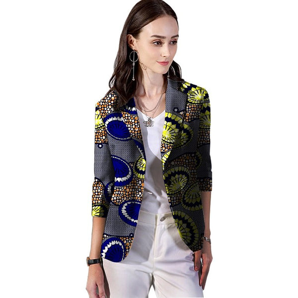 African Women Retro Workplace Blazer Female Fashion Pattern Printed Suit Outwear Outfits Custom Lady Dashiki African Clothing