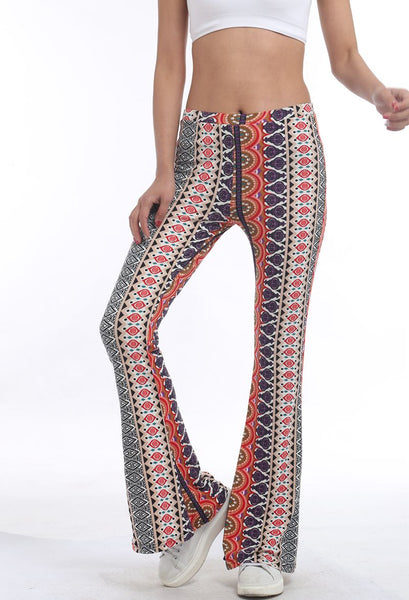 American Clothing Tribal Vertical Aztec print Bell Botto Legging Soft Women Flare pant Wide leg Printed Legging  Style1011