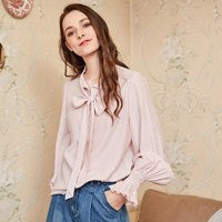 2020 Autumn New Women Solid Flare Sleeve Elegant All-match Blouse Drawstring Collar Chiffon Shirt SA10385Q