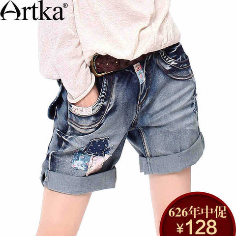 Women's Summer New Patchwork Straight Denim Shorts Vintage All-match Bow&Pockets Decoration Shorts KN13436C