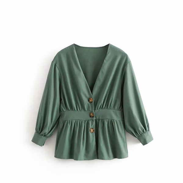Autumn Elegant Office Lady Green White Shirt Button Pleated Long Sleeve Work Tunic V-Neck Tops And Blouses Women Camisas Blusas
