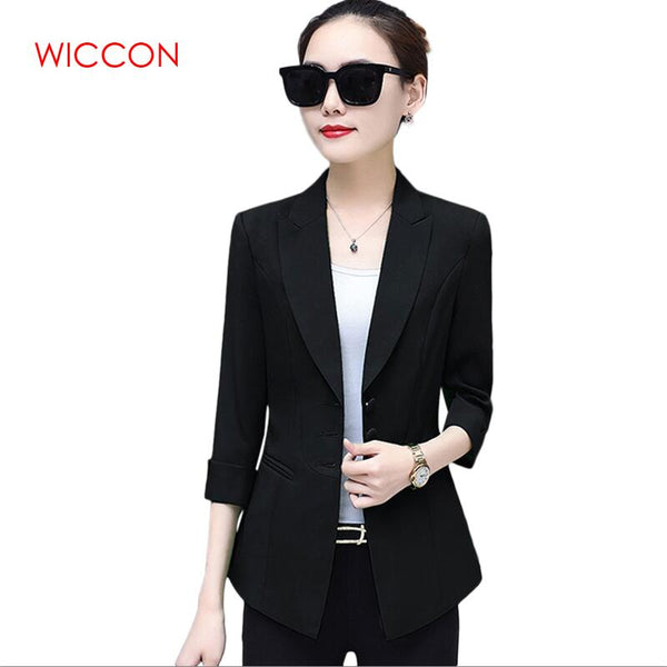 Autumn Korean Suit Women Fashion Casual Sinle Breasted Solid Three QuarterSleeve Top Elegant Blazers  Workwear Office Clothes