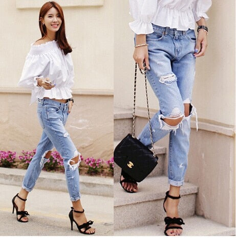 Autumn New Fashion Cotton Jeans Women Loose Low Waist Washed Vintage Big Hole Ripped Long Denim Pencil Pants
