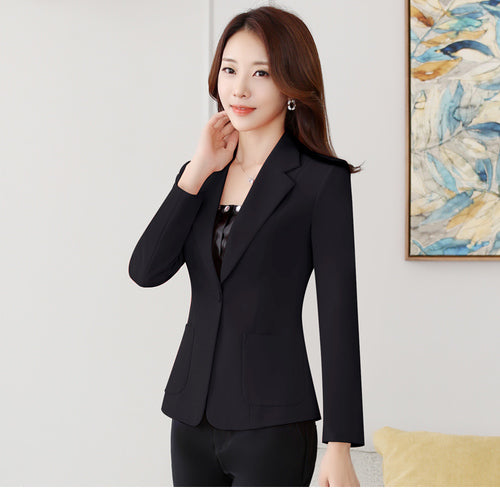 Autumn New Solid Black Women Blazer Long Sleeve One Button Pocket Brief Elegant Coats Mid-Waist Slim Chic Ladies Blazers L1533