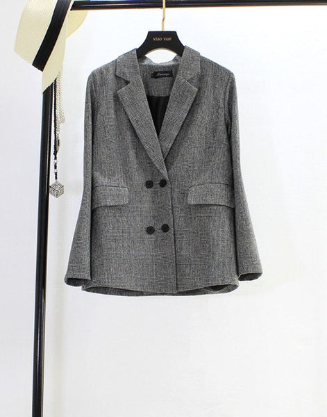 Autumn New Vintage Plaid Blazer jacket Formal Slim Long Sleeve Plus Size Casual Suit coat Women Double Breasted Blazers