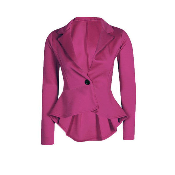 Autumn Spring Women Blazer Coat Female Casual Slim Fit Work Wear One Button Ruffle Back Suit Women  Clothing Chaquetas Mujer