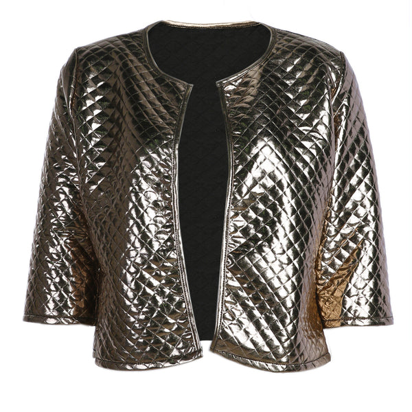 Autumn Vogue Lozeng Waterproof Gold Sequins Casual Blazer Winter Short Jacket Women Three Quater Sleeve Fashion Coats Outwear