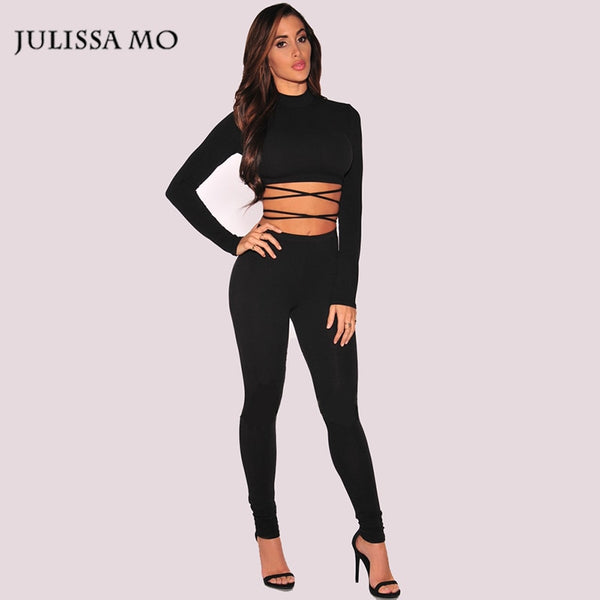 Autumn Winter Black Bodycon Jumpsuit Sexy Two Piece Hollow Out Bandage Rompers Womens Jumpsuit Club Party Women Rompers