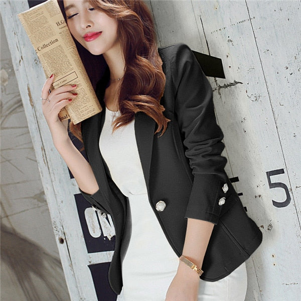 Autumn Winter New Fashion Blazers Clothes Solid Women Woking Wear Long Sleeve Single Button Notched Collar Ladies Coats 62740