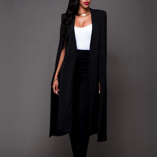 Autumn Winter New Fashion Women Sleeveless Long Cardigan Blazer Office Ladies  Style Cloak Women Outwear White Black