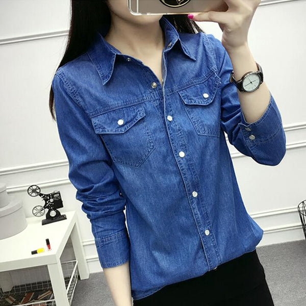 Autumn Women Casual Jeans Long Sleeve Blouse Fashion Slim Denim Shirt tops Office Female Clothing Denim blusas mujer