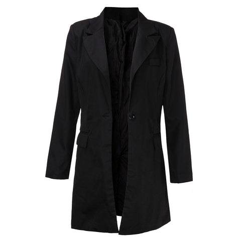 Autumn Women Long Blazers Jackets Single Button Blazer Women Jacket Casual Long Sleeved Blazer Feminino Longo Outwear Plus Size