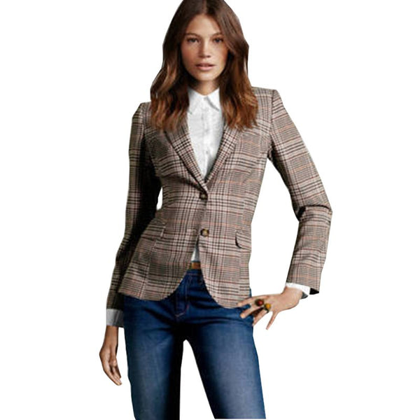 Autumn Women New Suit Coats Ladies Slim Suit Sleeves Female Plaid Slim Blazer For Women Fashion Plus Size Jackets For Women