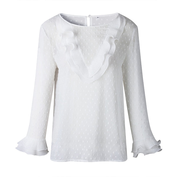 Fashion Polka Dot Women Tops And Blouses Long Sleeve Elegant Ruffles White Blouse Shirt Casual Round Neck Women Clothes