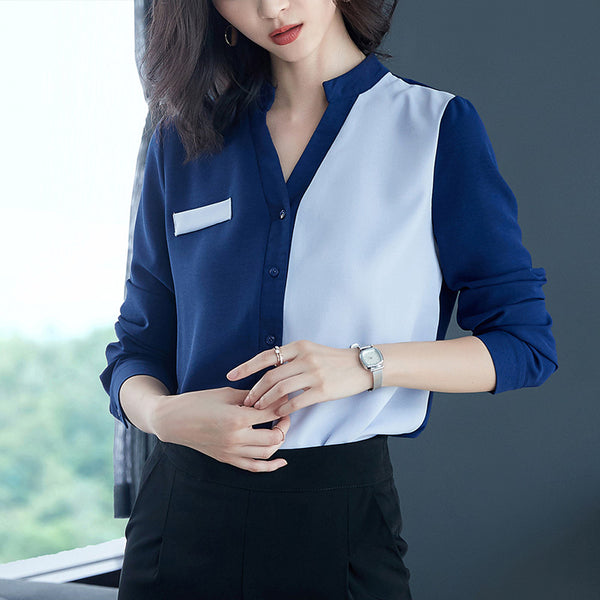 Spring Autumn Office Shirts Women V-Neck Tops Long Sleeve Casual Chiffon Blouse Female Ladies Work Wear