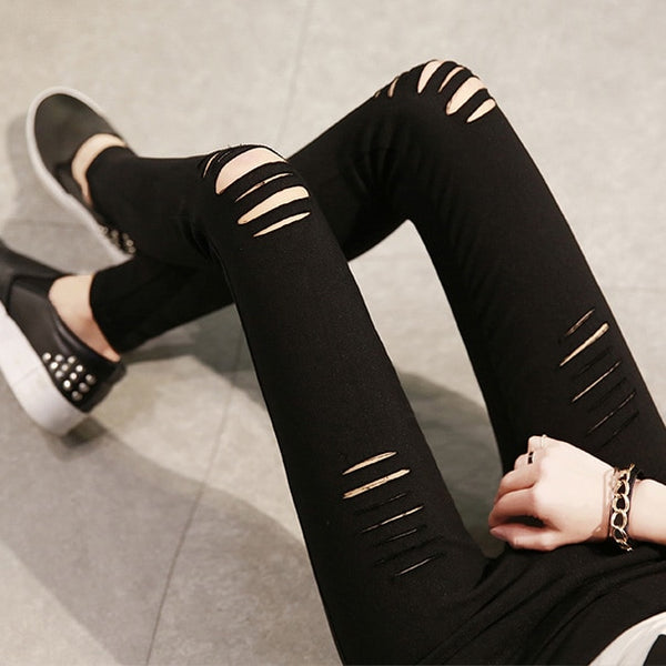 Fashion Spring Summer Womens Skinny Ripped Jeans Leggings Torn Hole Woven Stretch Cotton Leggings Jeans Pants For Women