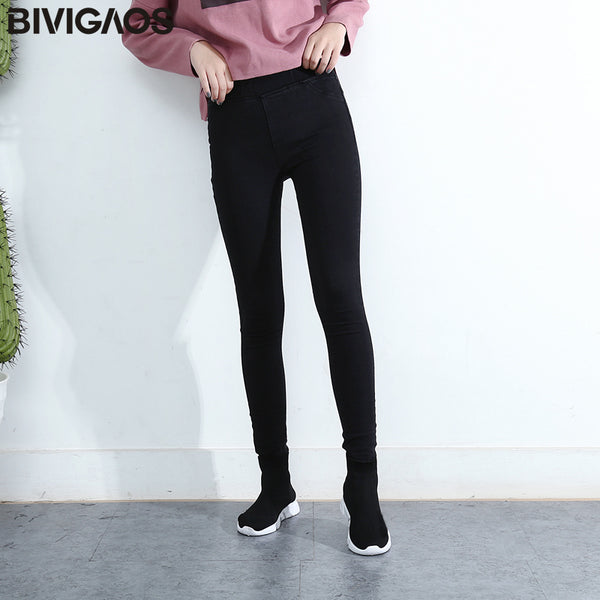 Spring Fall Women Simple Basic Jeans Elastic Denim Pants Pencil Jean Leggings Pants Jeggings For Women Jeans Trousers