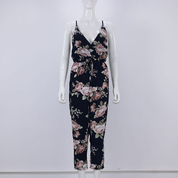 Women Summer Floral Print V-Neck Jumpsuit Romper Cross Back Strappy Casual Beach Long Jumpsuits Women Salopette Femme