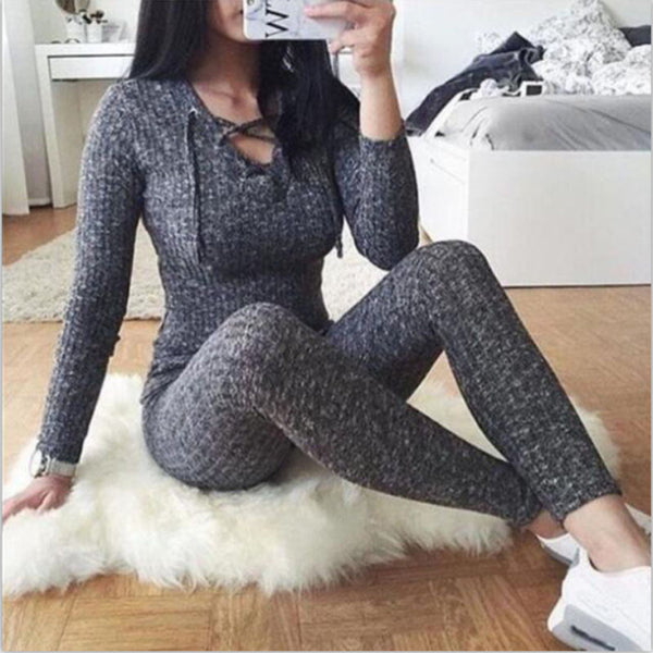 Knitted Sweater Jumpsuit For Women Sexy Female Casual V Neck Cross Bandage One Piece Slim Bodycon Long Sweater Jumpsuits