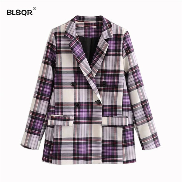 Fashion Women Elegant Plaid Blazer Long Sleeve Outerwear Notched Collar Pocket Office Lady Casual Tops