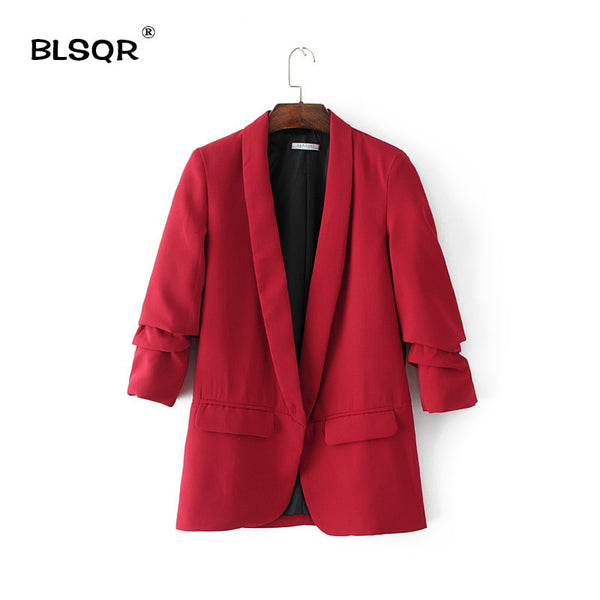 Red Chiffon Formal Blazer Women's Business Suit Slim Long-Sleeve Jacket Suits Office Suit For Women Clothes