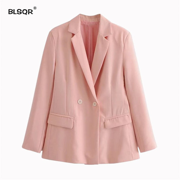 Women Basic Notched Collar Pink Blazers Pockets Double Breasted Female Retro Casual Outwear Chic Tops