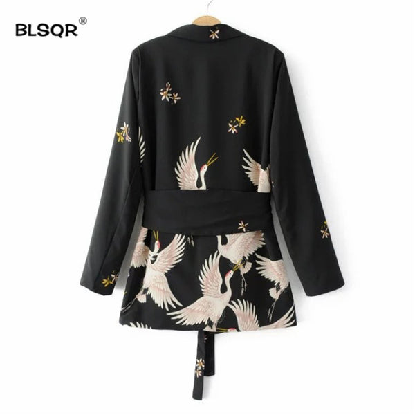 Women Black Sashes Floral Blazer Notched Collar Long Sleeve Coat Vintage Ladies Casual Brand 0uterwear Tops