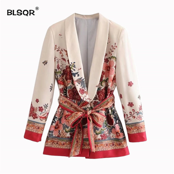 Women Elegant Floral Print Blazer Sashes Long Sleeve Outerwear Notched Pocket Office 2020 Casual Tops New