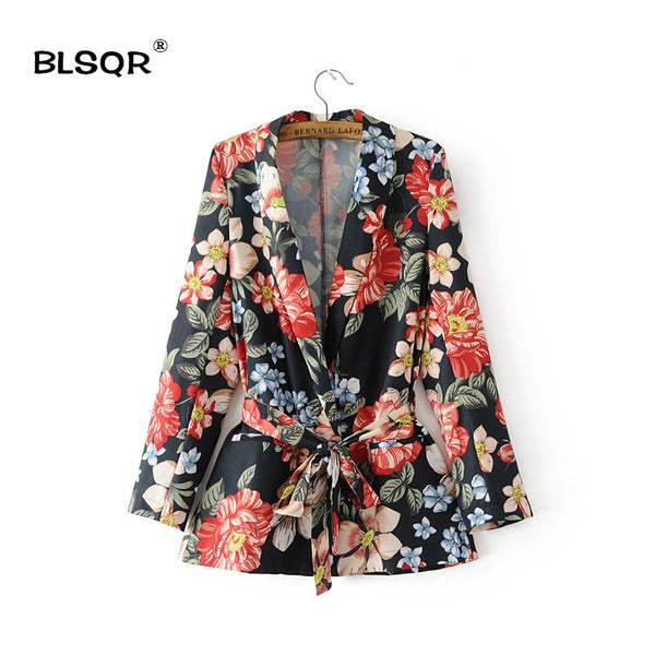 Women Fashion Chiffon Floral Print Pockets Blazer V-neck Long Sleeves Belted Ladies Business Suits Casual Outerwear Coat